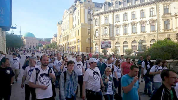 Pécs – dampers protest in Hongarije